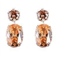 High Quality Oval Natural Honey Morganite Gems Silver Woman Stud Hook Earrings