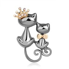Fashion Cute Double Cat Crystal Rhinestone Brooch Pin Wedding Party Jewelry Gift