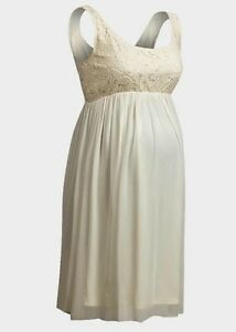 NEW Maternity Dress Cream Lace Pregnant Women Baby by Rock a Bye Rosie UK