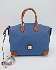 NWT Dooney & Bourke Blue Red Printed Logo Gretta Satchel Convertible Bag Purse