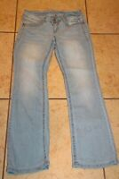 Wallflower Juniors SZ 11 Jeans Gray Wash Bootcut Stretch Embroidered Mid-Rise