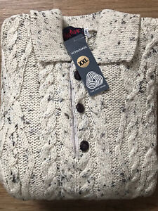 Collared Aran Style 100% Wool Ivory Fleck Chunky Cable Knit Jumper Size XXL