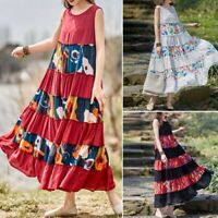 ZANZEA Women Sleeveless Summer Tank Dress Off Shoulder Bohemia Maxi Dress Plus