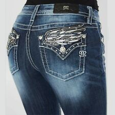 Miss Me Jeans Womens Size 29 Mid Rise Easy Boot E3313EBR Angel Wings NWT