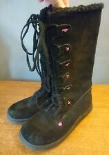 Rocket Dog Suede Boots Size 3 UK Knee High Fur Lined Toggle Womens Black Girls