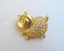 Vintage Givenchy Gold Tone With Clear Rhinestones Little Piglet Brooch Pin