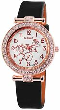 Classix Damenuhr Analog Armbanduhr Lederimitationarmband Schw Crystal Besatz Uhr