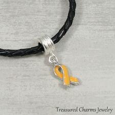 Orange Awareness Ribbon Dangle Bead Charm - Fits European Bracelets NEW