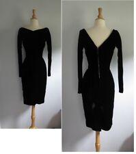 """Vtg 1950s Black velvet pencil hourglass fitted dress long sleeve W25"""" TLC"""