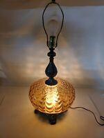 Vintage Hollywood Regency Mid Century Modern Amber Glass Globe 3 Way Table Lamp