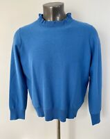 New J.Crew Ruffle Neck Pullover Sweater Blue Sz XXL H7191 Plus Size NWT