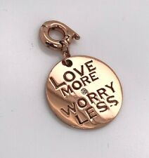 Nikki Lissoni Love More Worry Less Rose Gold Plated Charm Pendant 19mm Rrp $59