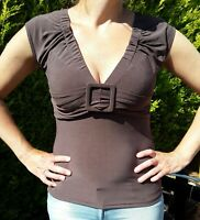 2 x Size L (12-14) Top 1 x brown, 1 x black front belt, by Temt. Fitted Bodycon