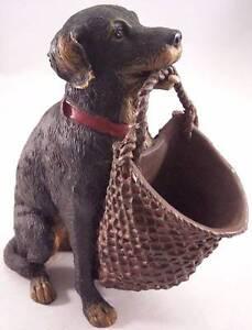 """Vintage 6-1/8"""" Hound Dog (Labrador) Holding Basket Figurine, Planter"""