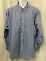 Polo Ralph Lauren Men's Long Sleeve Blue/White Check Button Down Size 3XB