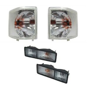 LAND ROVER DISCOVERY 1 1994-1998 CLEAR LENS FRONT SIDE & REAR BUMPER LAMPS SET