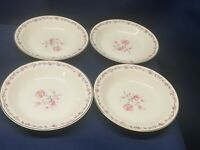 Vintage Taylor Smith And Taylor China Set/4 Soup/Salad Bowls Pink Rose Design