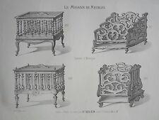 Casiers à Musique LITHOGRAPHIE le MAGASIN de MEUBLES Victor QUETIN XIXéme