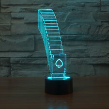 Poker Acrylic 3D Night Light  LED USB Table Desk Lamp Touch Switch 7 Colors