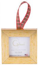 Galassi Fine Italian Wood Xmas Ornament Basic Gold w/ Plaid Ribbon Made in USA