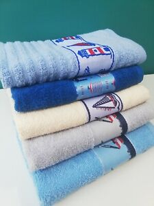 Rigg's Quality 3 Pack Embroidered Seaside Kitchen Tea Hand Towels 100% Cotton