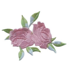 Rose Flower Leaves Embroidery Iron On Applique Patch  abordada apliques xc