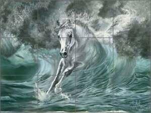 Horse Tile Backsplash McElroy Equine Art Ceramic Mural Kitchen Shower KMA012