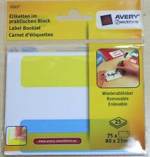 2 x Avery Label Booklet 150 Removable Yellow White Blue Adhesive Labels 5063 V8R