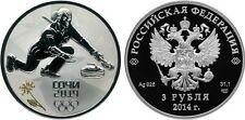 3 Rubles Russia 1 oz Silver 2013 Sochi 2014 Curling Proof