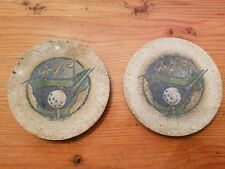 Sandstone Coasters - Set of Two with Cork Backing (Golf Theme)