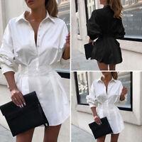 Élégant Femme Chemise Robe Revers Manche Longue Taille Haut Ample Mini Jupe Plus