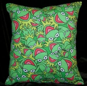 NEW HANDMADE KERMIT THE FROG MUPPETS FLANNEL  TRAVEL TOSS CUDDLE  PILLOW
