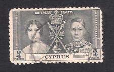 CYPRUS RAILWAY R.P.O. FAMAGUSTA TYPE 40 POSTMARK CANCEL ON 1937 CORONATION STAMP