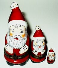 LIMOGES BOX - CHRISTMAS - NESTING SANTA CLAUS SET - TWO BOXES - THREE PIECES