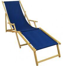 Chaise Longue Terrasse en Bois Transat pour Jardin Bleu Partie de Pied Hêtre