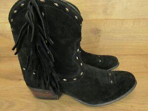 Ariat Black Onyx Suede Sunset Fringe Cowboy Western Boot Womens 9B 9