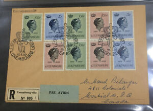 1958 Luxembourg special registered cover with 9 Charlotte stamps
