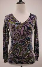Talbots Petites Merino Wool Purple Green Blue Paisley V-Neck Sweater Size P