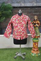 Women Quilted Jacket Reversible Handmade Cotton Red Floral Blazer Coat Jacket