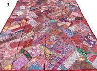 Dessus de lit indien Patchwork Bordeaux Vintage Sari Couvre-lit Fait main Inde