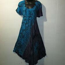 Dress Fit 1X 2X 3X Plus Long Sundress Purple Blue Lace Sleeves A Shaped NWT G682