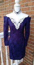 Roberta Vtg Purple Lace Prom Cocktail Choker Mini Dress Long Sleeves Size 5/6