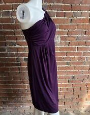 MATERNITY A PEA IN THE POD PURPLE ONE SHOULDER JEWEL DRESS S LINED RUCHED EUC 💓