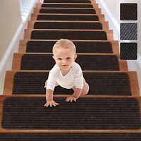 RIOLAND Stair Treads Carpet Non-Slip Set of 15 Treads- 8x30 inches, Brown