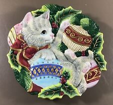 Fitz & Floyd Essentials Kristmas Kitty Christmas Ornaments Canapé or Wall Plate