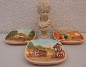 VINTAGE- LEGENDS CHALKWARE Lot of 3-HAND-PAINTED PICTURE PLAQUES & FIGURINE