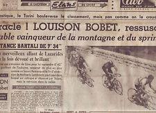 journal  l'équipe  du 14/07/48 CYCLISME TOUR DE FRANCE 1948  BOBET LAZARIDES