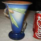 """BEST!!"" ANTIQUE USA ROSEVILLE 1931 BLUE PINECONE TRUMPET URN FLOWER VASE 906-6"