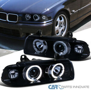 Fit 92-98 BMW E36 2/4Dr Halo Glossy Black Projector Headlights Smoke Head Lamps