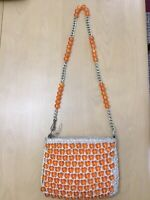 """Vintage Purse Woven Straw Rattan Macramé With Marble Beads 1970 """"Bags by Donna"""""""